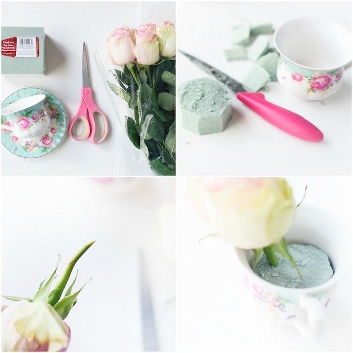 deco mariage a faire soi meme, mousse florale dans des tasses à thé, roses en blanc et rose dedans, tutoriel facile