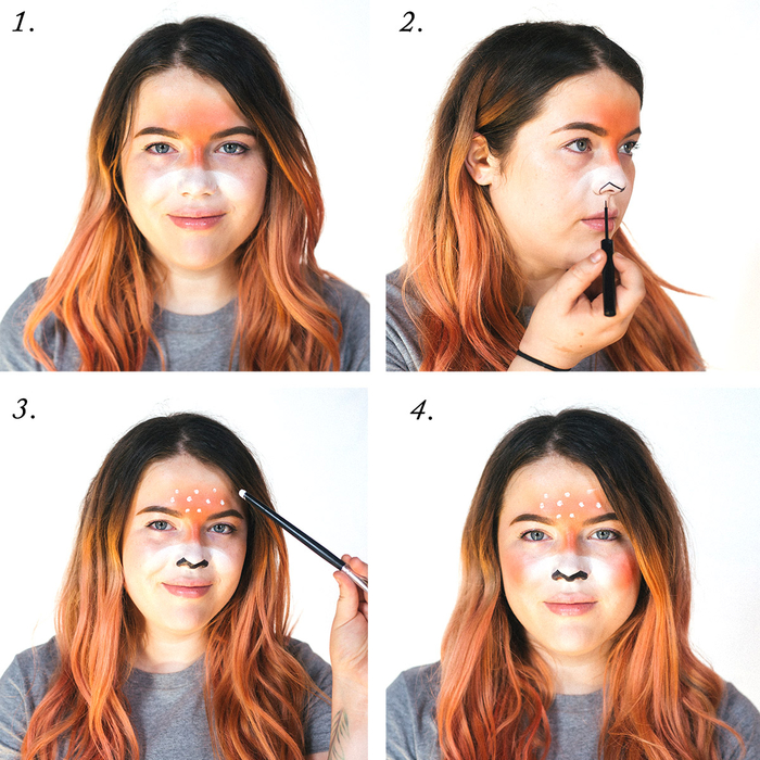 un maquillage de cerf artistique, comment réaliser un maquillage pour halloween inspiré de snapchat