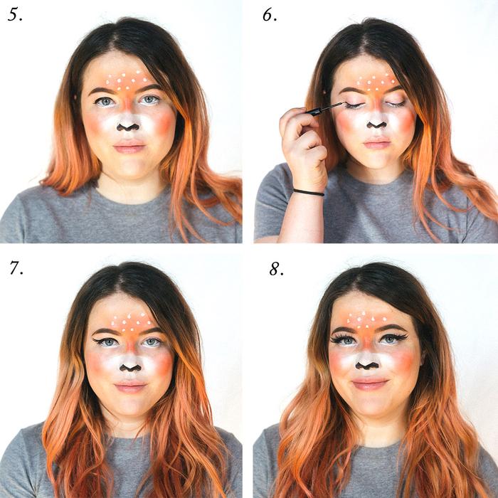 idée originale pour un maquillage halloween femme très tendance, maquillage de cerf inspiré des filtres snapchat