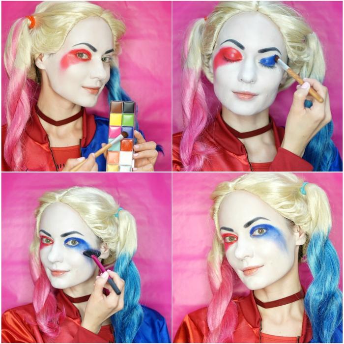 idée original pour un déguisement couple, comment réaliser un maquillage halloween femme inspiré de harley quinn