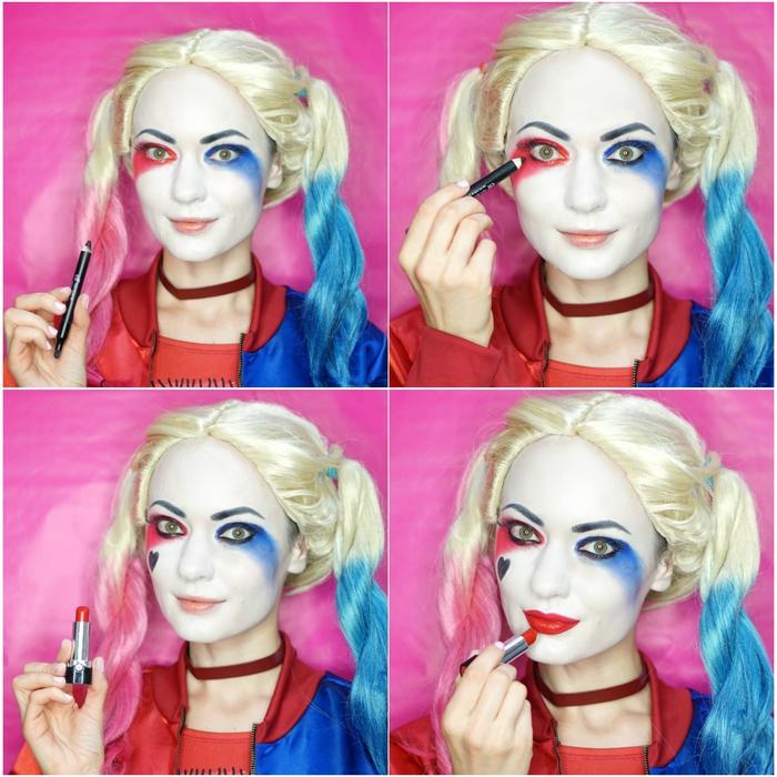 joli maquillage pour halloween inspiré du personnage burlesque de harley quinn de suicide squad