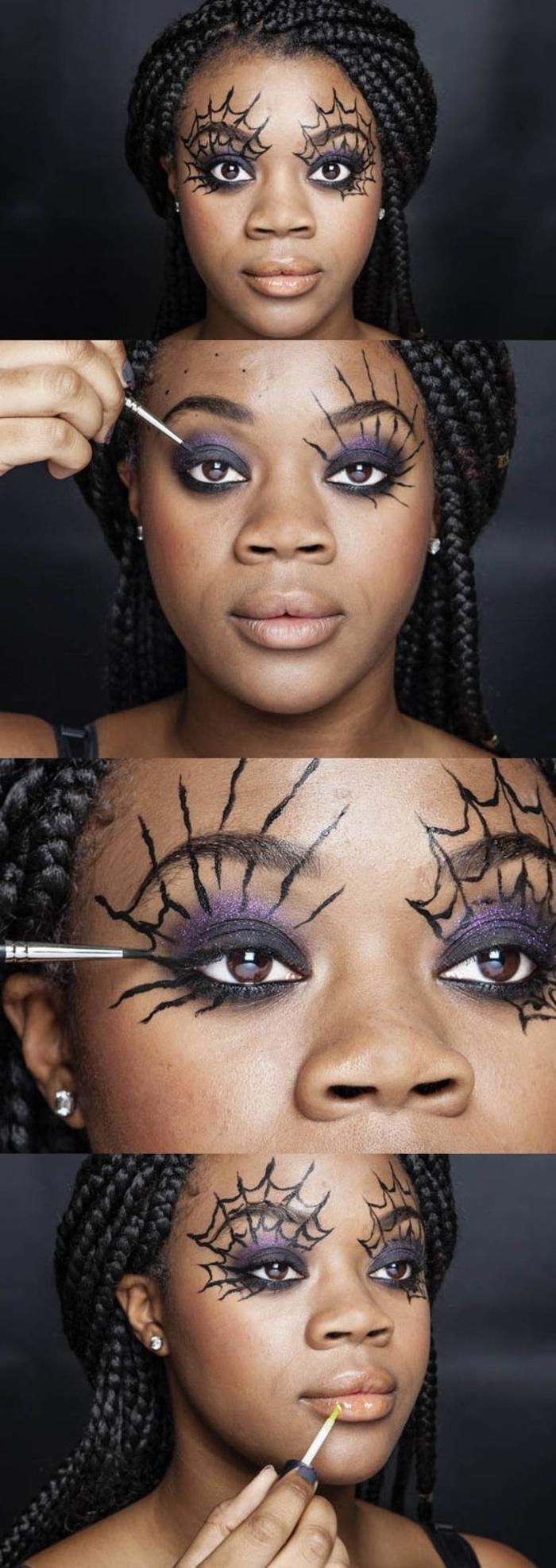 un maquillage halloween femme accentuant sur les yeux, comment réaliser un maquillage yeux toiles d'araignée