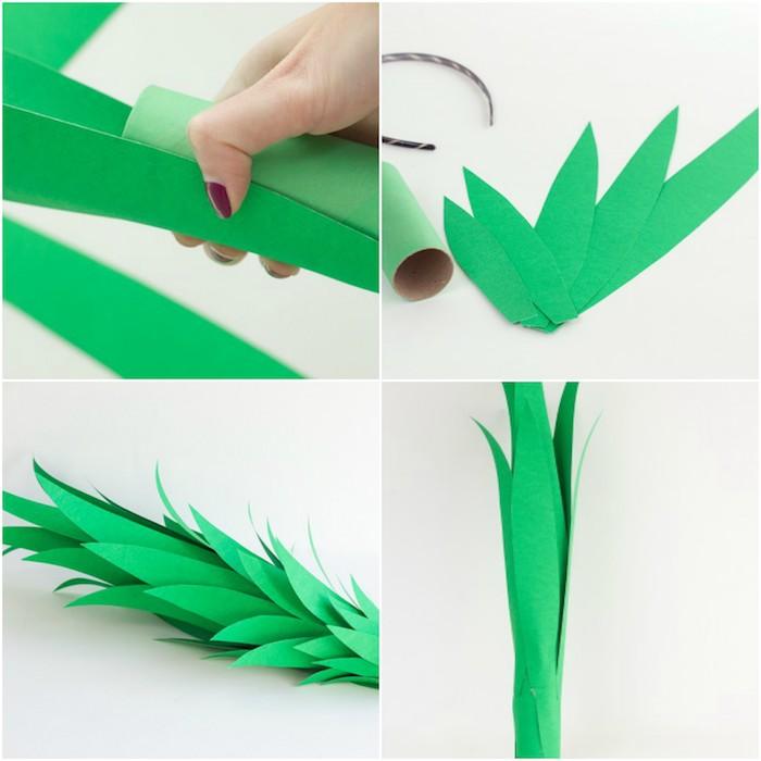 tuto pour fabriquer un accessoire deguismenr femme, fair un chapeau ananas dans un rouleau de papier toilette et feuilles en papier verts