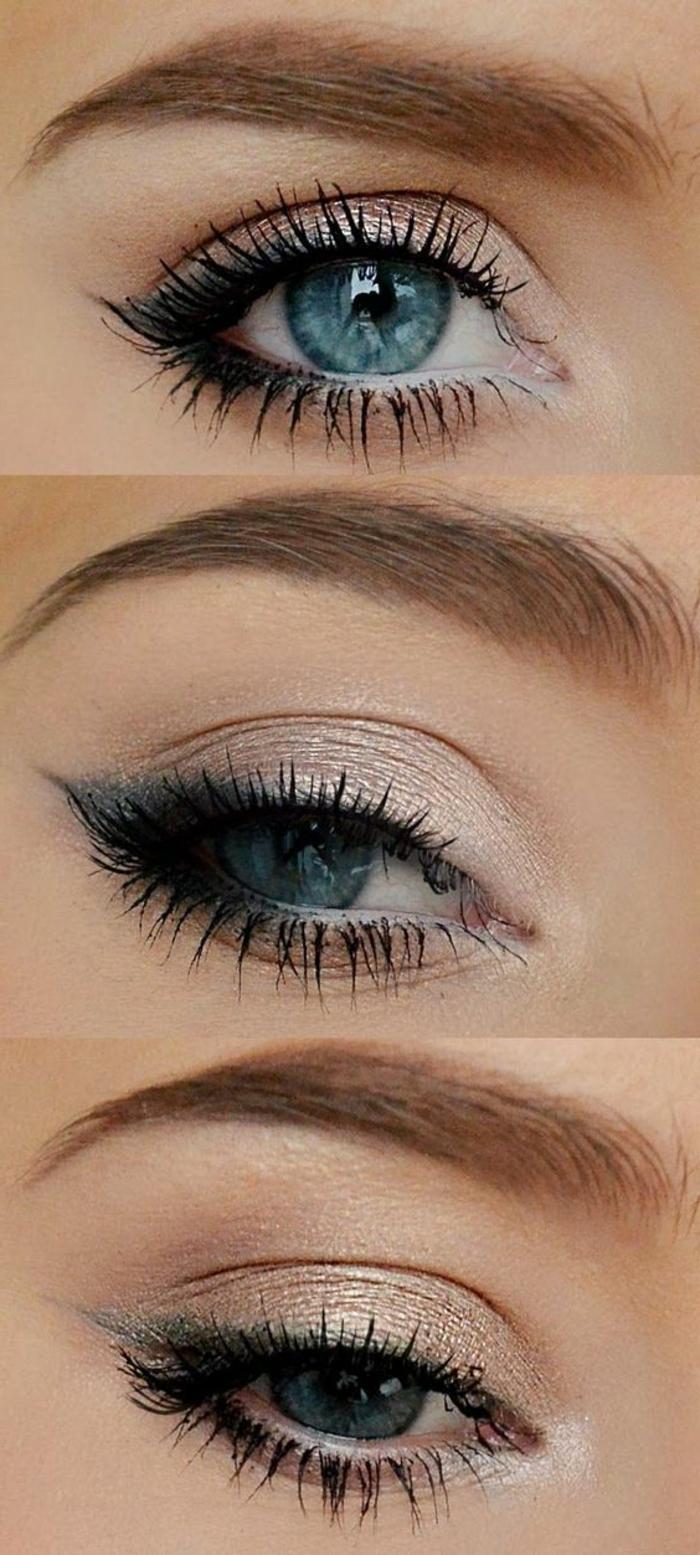 maquilage yeux bleu avec crayon noir et lila délicat et mascara noir maquillage yeux bleu
