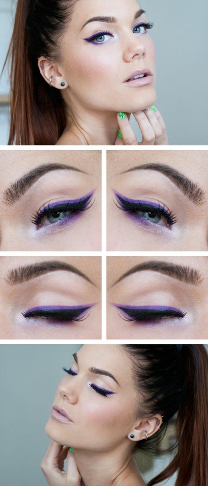 tutoriel maquillage avec crayon khol en bleu turquoise et lila et crayon noir avec des lèvres en rose pale