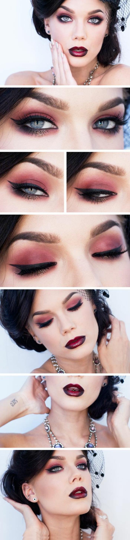 tuto maquillage en rose aux nuances rouges pour des soirées spéciales avec rouge a lèvres en bordeaux