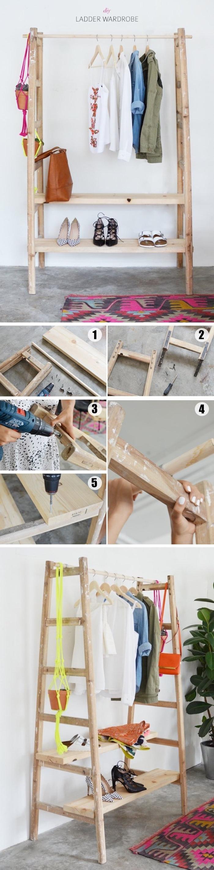 diy deco chambre, dressing pratique fabriuqé à partir d une echelle bois démontée avec des étagères installées, porte vêtements et chaussures