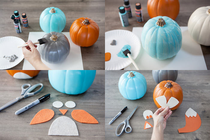 tuto bricolage halloween, citrouilles repeintes en orange, bleu et gris avec des silhouettes ailes, vente, bec et des yeux en feutrine