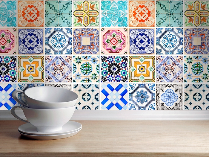 Stickers carrelage mural cuisine beautiful stickers for Carrelage a motif cuisine