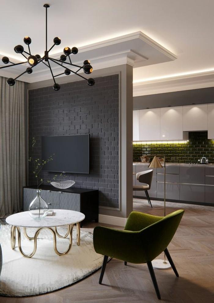 mur cuisine cuisine mur et meuble gris ton sur ton with mur cuisine fabulous cuisine noire et. Black Bedroom Furniture Sets. Home Design Ideas