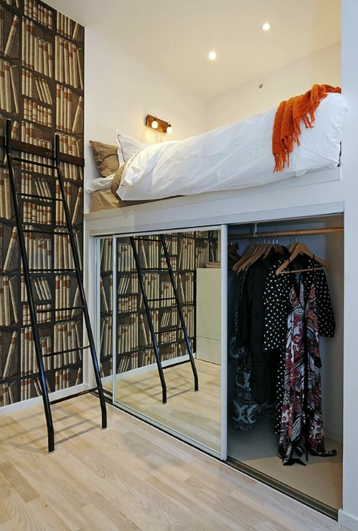 deco petite chambre adulte sur deux niveaux, avec bibliothèque sur toute la hauteur de l'un des murs, penderie sous le lit avec portes coulissantes, avec des miroirs
