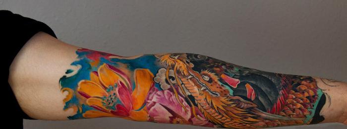 tatouage dragon japonais manche couleurs