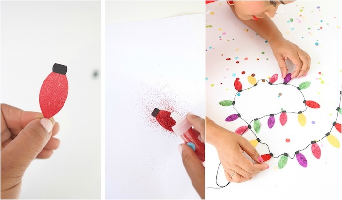 tutoriel pour fabriquer une guirlande de noel en lumières en papier pailletées, deco noel a faire soi meme