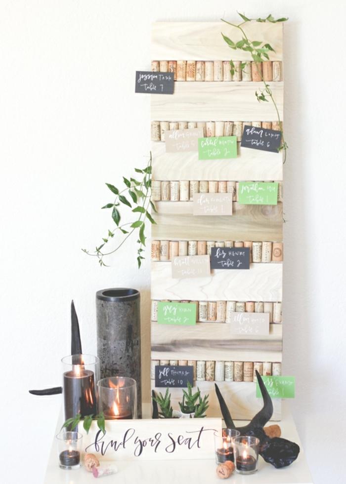 Bricolage manuelle idée décoration avec des bouchons de liège tableau pour poser des notes à soi-meme ou décoration de mariage tables marque place mariage