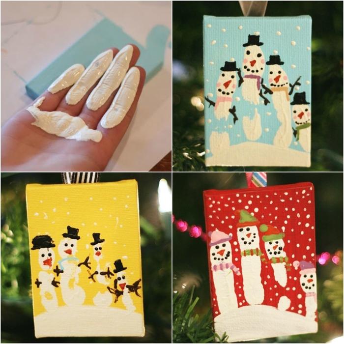 bricolage facile pour les fêtes de noel à réaliser avec les enfants, des dessins pendentifs réalisés avec des empreintes de mains