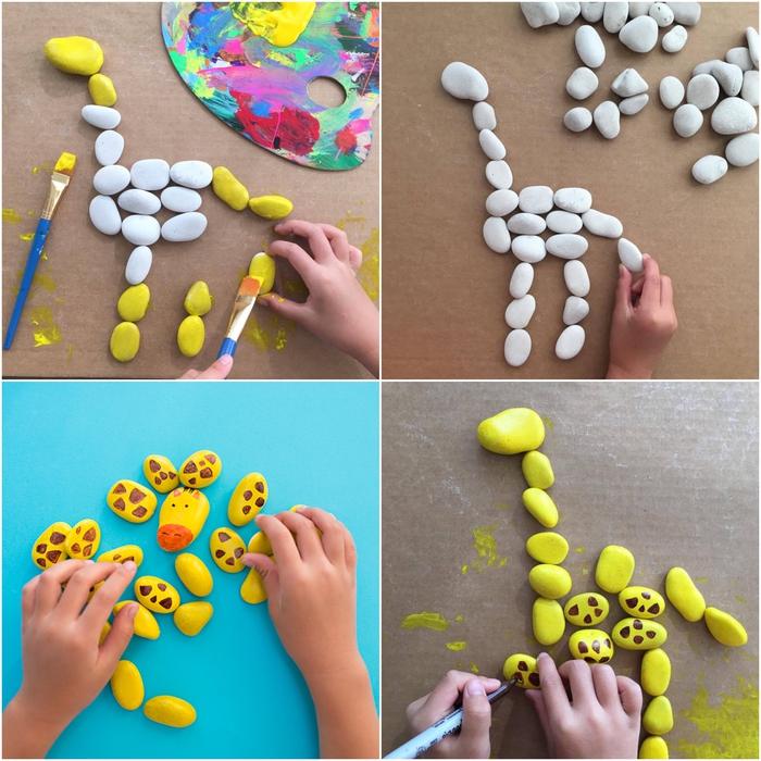 tuto de bricolage facile pour créer un puzzle girafe avec des galets peints, idées amusantes avec des galets ramassés en été