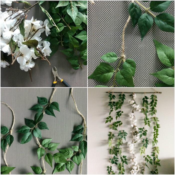 diy déco chambre, decoration murale en guirlande de feuilles vertes et fleurs blanches suspendues à une baguette bois
