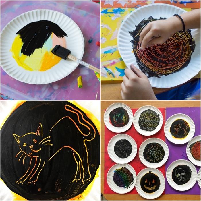 activité halloween originale avec de la peinture à gratter, dessins d'halloween sur des assiettes en carton à gratter