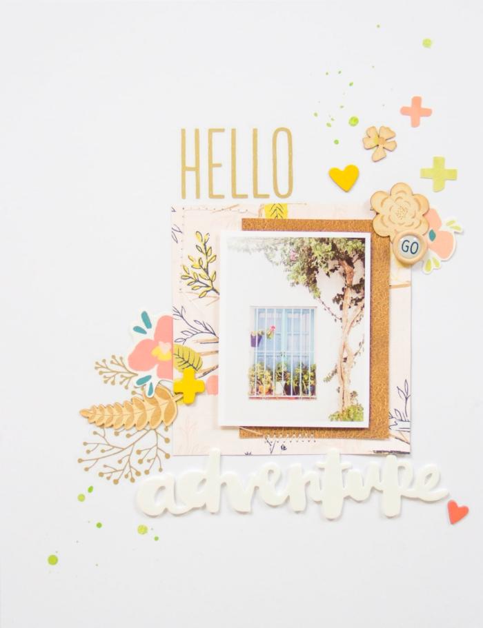 cadeaux personnalisés, carte scrapbooking au message aventure avec photo nature et lettres inspirantes en jaune et blanc