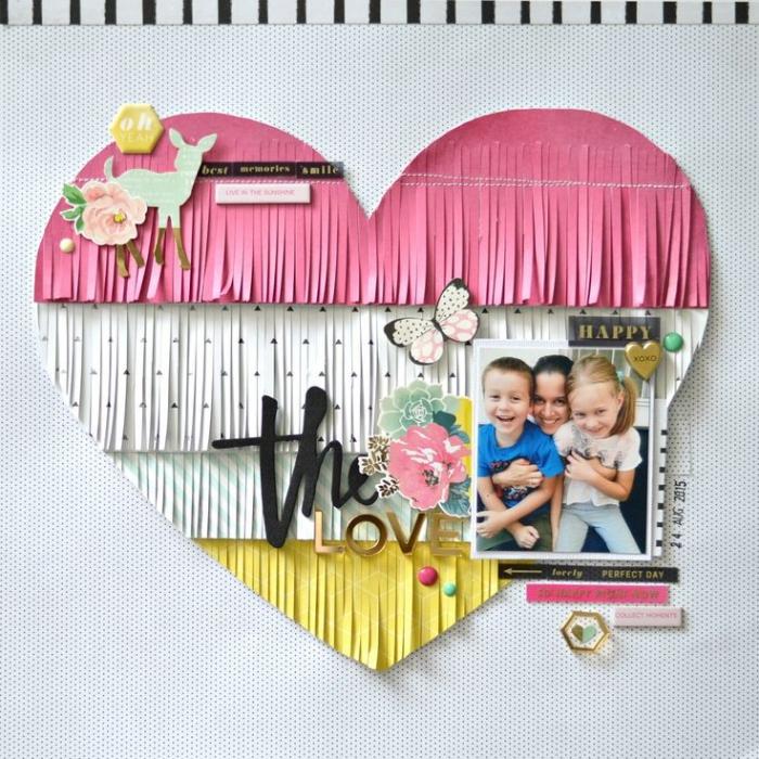calendrier personnalisé, fabriquer en coeur en papier et frange avec stickers autocollants et papillons en papier