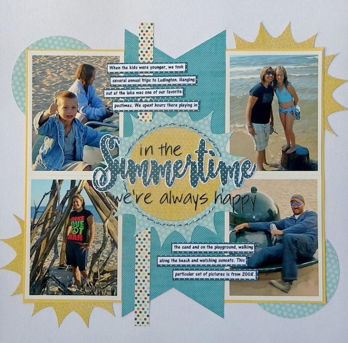 carte de voeux personnalisée, page scrapbooking avec photos en famille, décoration avec photo de vacances et rubans adhésifs bleu et jaune