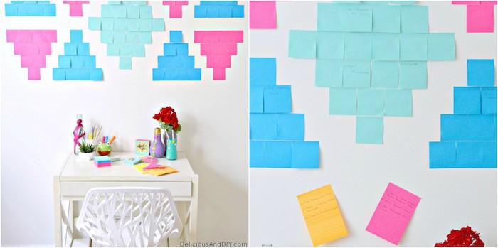 diy chambre ado, des post it de couleurs diverses rangées sur un mur blanc, écrire des notes importantes, panneau d affichage coloré