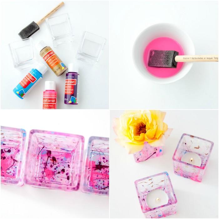 activité manuelle pour ado, fabriquer un bougeoir décoré de touches de peinture colorées, comment faire des bougies soi meme