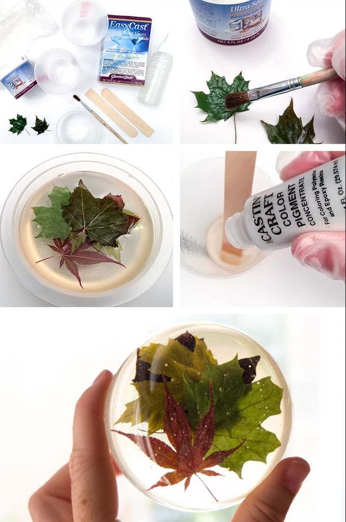 une activité créative idéale pour la rentrée, apprenez comment réaliser un presse-papier en résine avec des feuilles sèches en inclusion