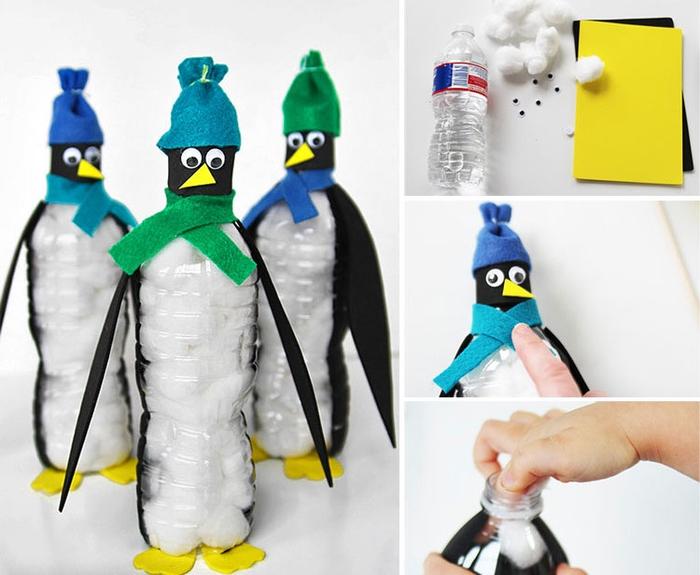 comment réaliser un pingouin en bouteille en plastique récupérée, activité manuelle recyclage bouteille plastoque pour sensibiliser les enfants à l environnement