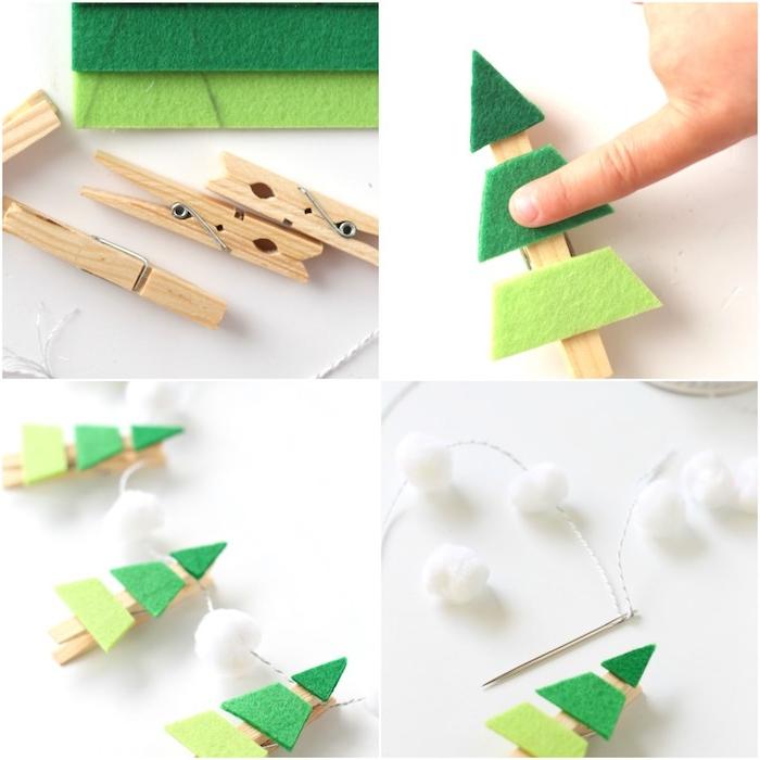 dea triangles en feutrine collés sur des pinces à linge de bois, guirlande avec des boules de coton blanches, activité noel maternelle