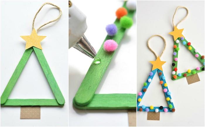 suggestion activité noel maternelle, sapin de noel en batonnets de glace verts et décoration de pompons colorés et étoiles jaunes