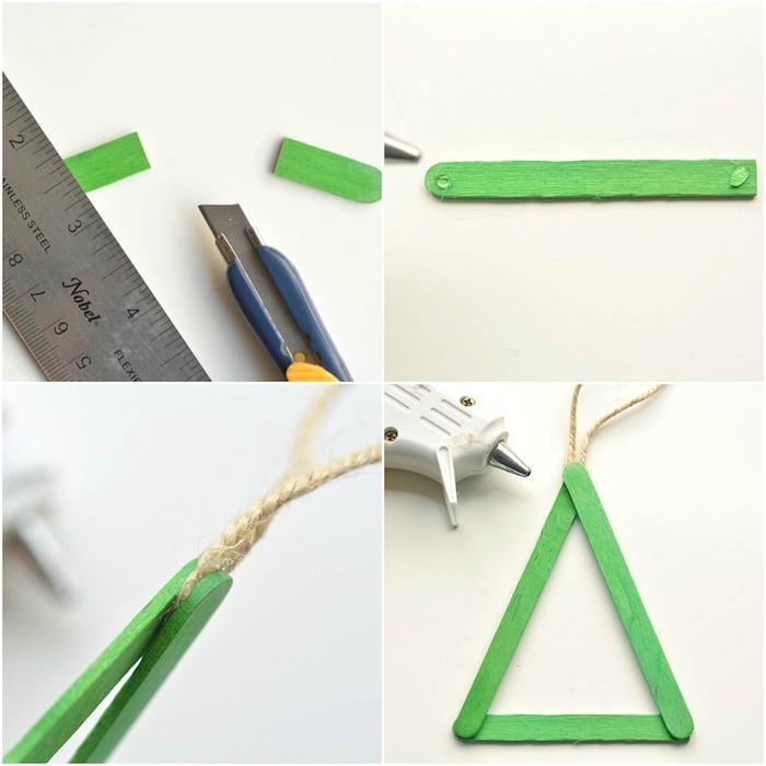 exemple d activité noel maternelle, un sapin de noel en batonnets de glace verts, bricolage facile enfant