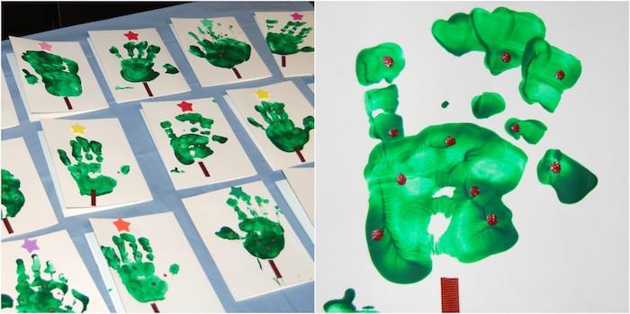activité noel maternelle avec des empreintes de main vertes pour créer une carte avec sapins de noel et décorations et étoile en papier