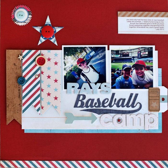 album photo personnalisé, comment faire une page scrapbooking en feuille rouge avec déco en boutons et rubans adhésifs