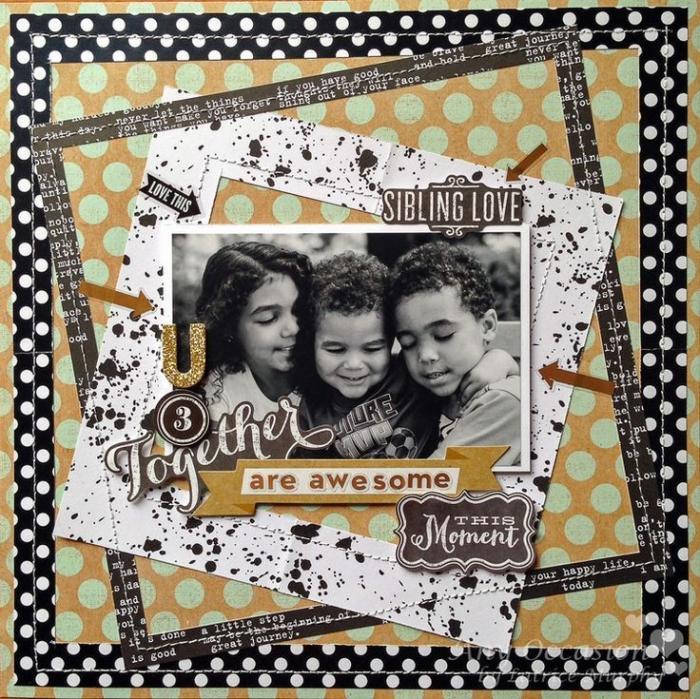 exemple scrapbooking, papier beige et vert avec décoration en ruban adhésif noir et photo en famille blanc et noir