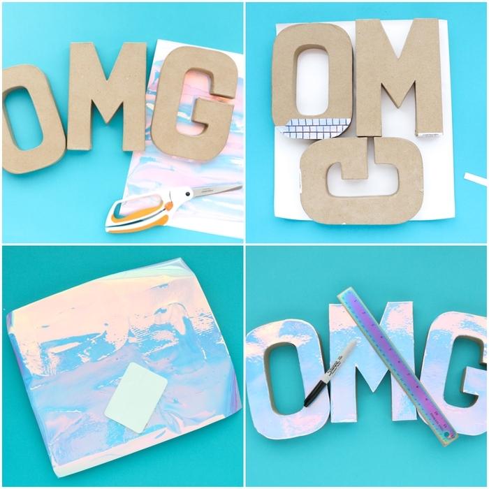 tuto bricolage maison pour réaliser un vase de lettres décoratives en carton à effet holographique