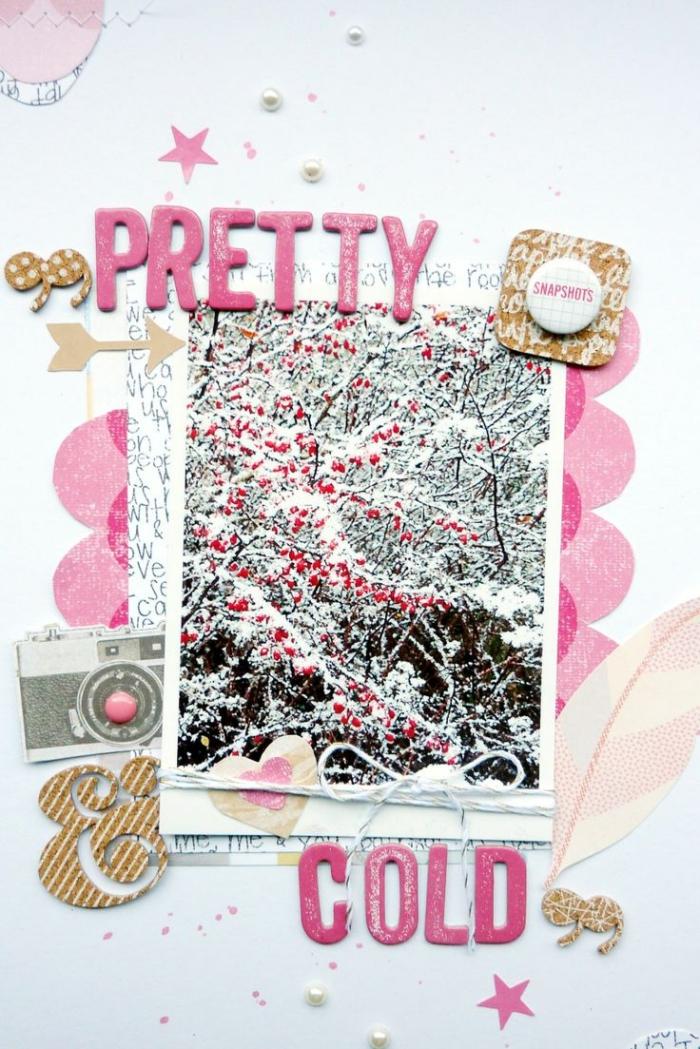 décoration glamour et fashion, page scrapbooking aux lettres rose et photo paysage neige, embellissement scrapbooking en or et rose