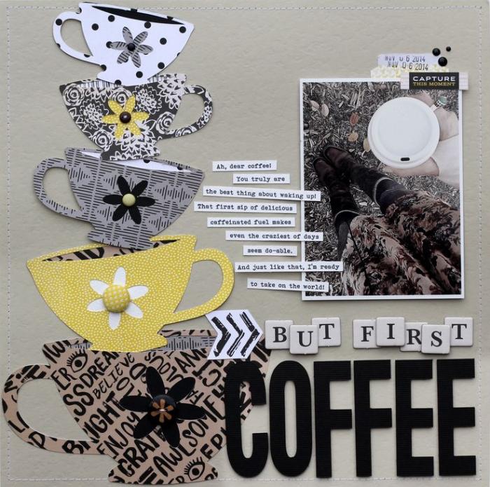 exemple scrapbooking, papier gris avec tasses de café en papier de couleurs neutres et lettres inspirantes