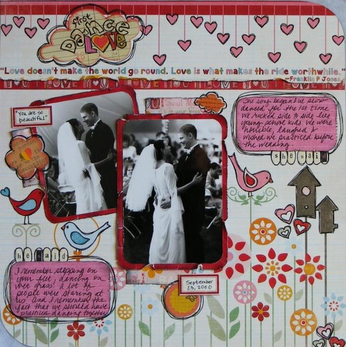 cadeau fait main pour son amoureux, page scrapbooking à thème mariage avec photos blanc et noir et dessins