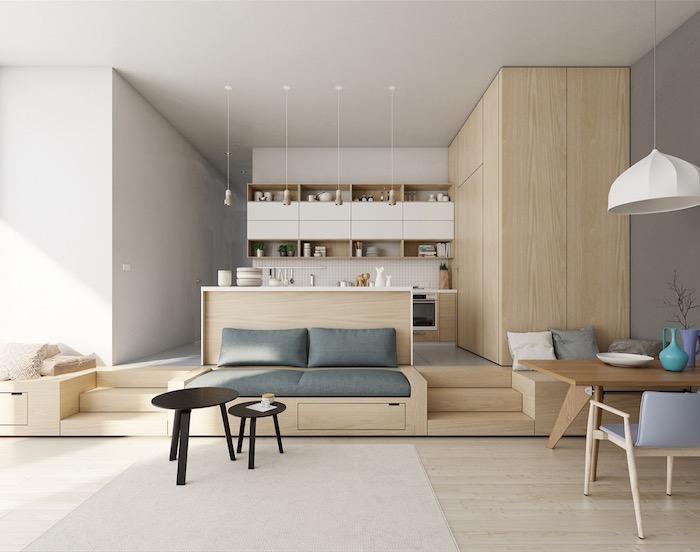 aménager une petite cuisine en bois en hauteur, etageres ouvertes, ouverte sur salon salle à manger, canapé, table salle à manger et chaises en bois, design sacandinave