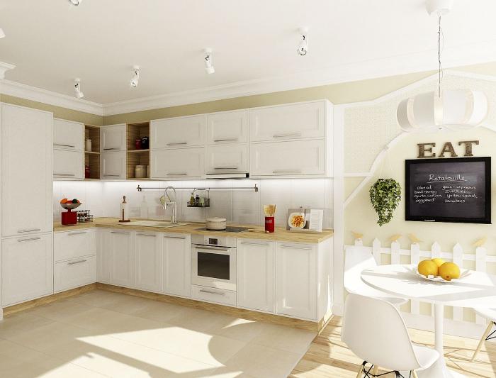 design scandinave, peinture murale en beige avec carrelage de sol beige, crédence cuisine en carrelage blanc