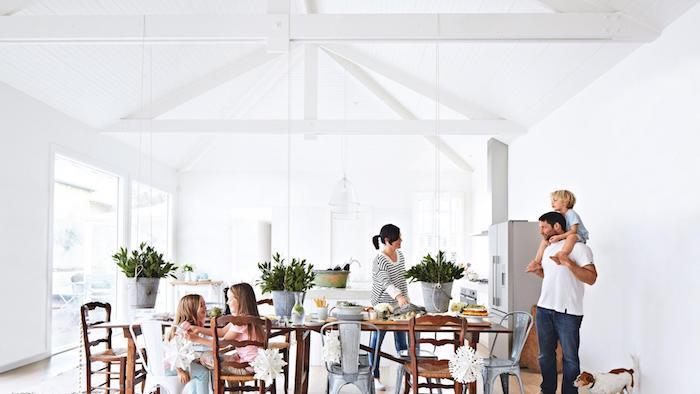 aménagement cuisine ouverte blanche qui donne sur une salle à manger avec table et chaises en bois, plantes vertes, electromenager inox