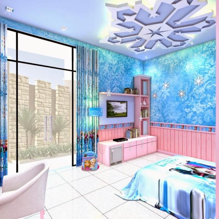 chambre reine des neiges, peinture chambre d'enfant aux murs bleus et plafond blanc, carrelage de sol en blanc