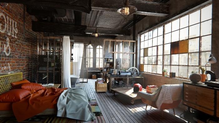 lampe industrielle, chambre à coucher industrielle loft aux murs briques et grandes fenêtres, tête de lit fer peinte en jaune