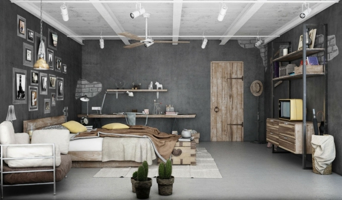 meuble style industriel, déco de chambre à coucher aux murs gris anthracite et meubles en bois, mur de cadres photos gris