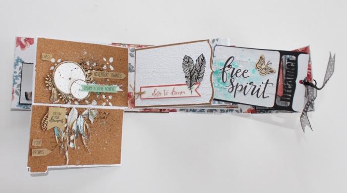 exemple scrapbooking, page scrapbooking en style bohème avec embellissement en papier et lettres inspirantes