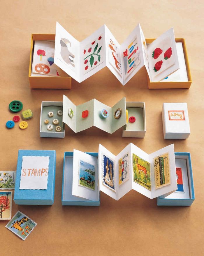 activité manuelle maternelle, boîtes aux cartes personnalisées en carton à design animal ou floral avec déco en boutons et timbres-postes