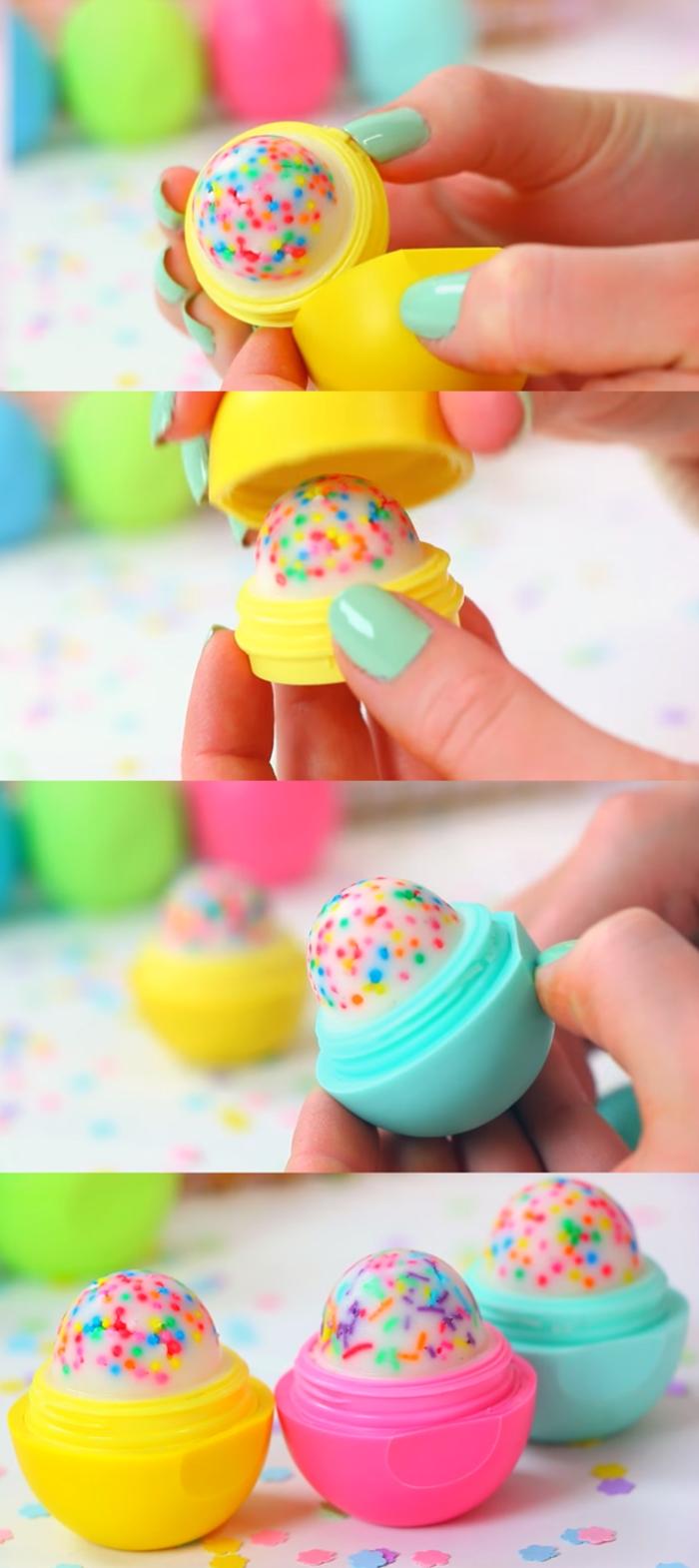 activités manuelles pour adultes, comment faire une baume à lèvres eos façon cupcake, un tuto bricolage maison pour réaliser un joli cadeau personnalisé