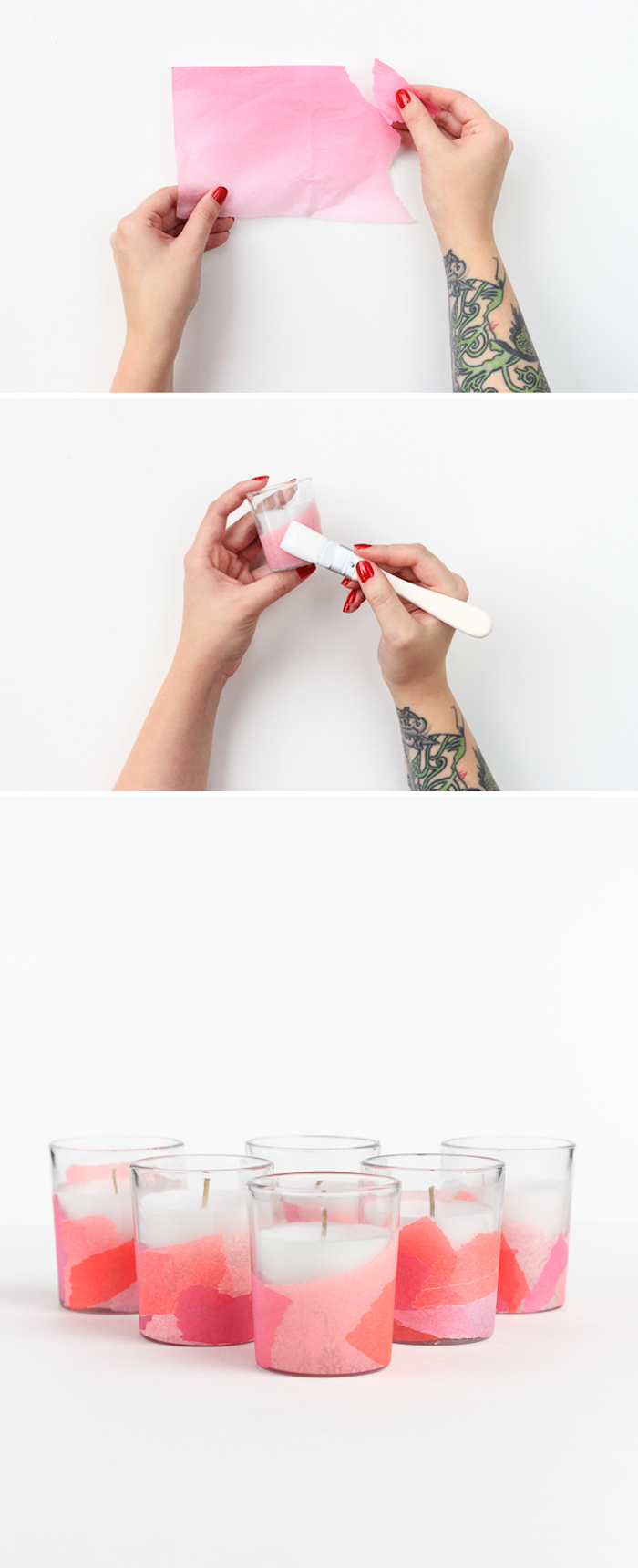 diy chambre ado des bougeoirs en verre personnalisés de papier de soie collé sur le support, activité manuelle adulte
