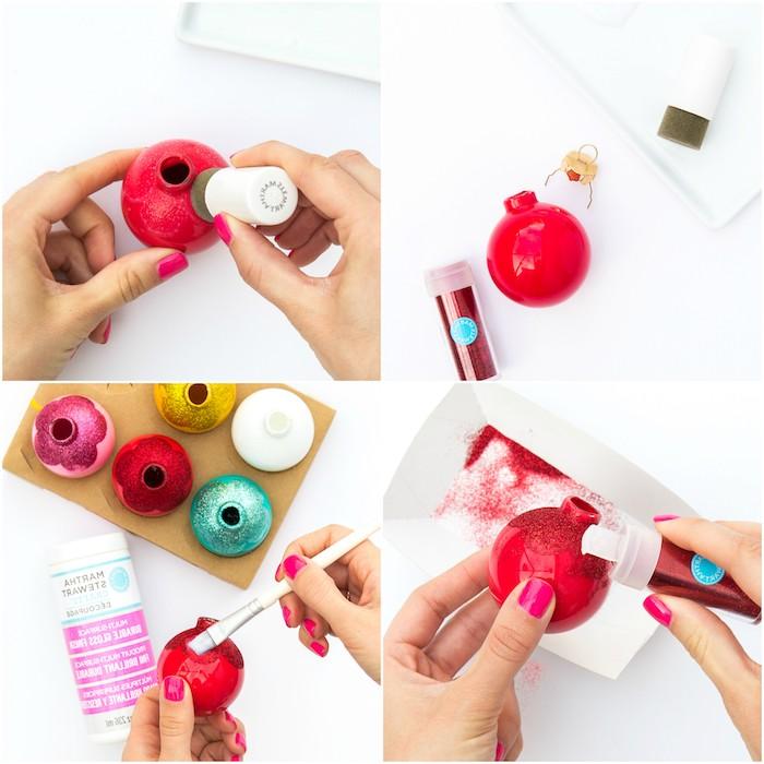 comment décorer un sapin de noel de boules de noel colorée en fleurs pailletées, bricolage facile